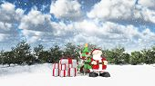 pic of rudolph  - 3D winter landscape with Santa and his reindeer - JPG
