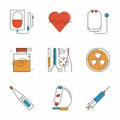 picture of diagnostic medical tool  - Abstract icons of medical items and surgery tools healthcare equipment medicine research and diagnostics blood transfusion - JPG