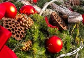foto of fir  - christmas background with toys - JPG