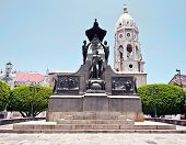 picture of bolivar  - Simon Bolivar statue and church in Panama city - JPG