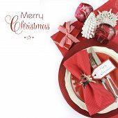 image of merry christmas text  - Modern Christmas table place settings in red and white themewith Merry Christmas sample text and copy space for your text here - JPG