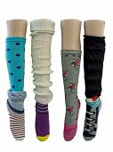 image of leg warmer  - close up of fanciful and colorful socks isolated - JPG