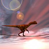 stock photo of dinosaurus  - Concept or conceptual abstract business metaphor as wild heavy dinosaurus balancing on rope over sunset sky background - JPG