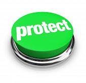 image of safeguard  - Protect word on a round green button to illustrate safeguarding your home - JPG