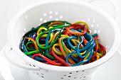 foto of unnatural  - Rainbow colored spaghetti in a white colander - JPG