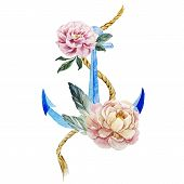 stock photo of anchor  - Beautiful vector image with nice watercolor anchor with flowers - JPG