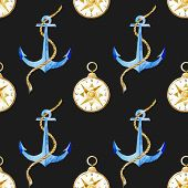 picture of navy anchor  - Beautiful vector pattern with nice watercolor anchor pattern - JPG
