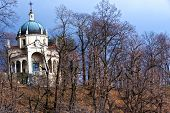 image of chapels  - a chapel in the woods of the Sacred Mountain of Varese in autumn season - JPG
