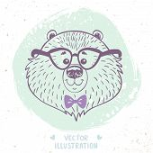 picture of cute bears  - beautiful portrait cartoon cute bear with glasses and bow tie - JPG