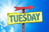 stock photo of tuesday  - Tuesday sign with sky background - JPG