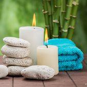 stock photo of zen  - spa concept with zen basalt stones  and orchid  - JPG