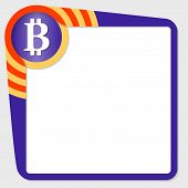 image of bit coin  - Dark purple box for your text and bit coin icon - JPG