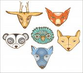 stock photo of coyote  - Vector set of illustration with cute baby animals - JPG