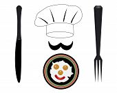 picture of chef knife  - headdress chef knife fork fried eggs on a plate - JPG