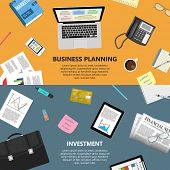 stock photo of e-business  - Modern flat design business planning and investment concept  for e - JPG