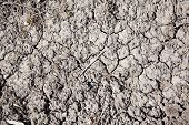 picture of water shortage  - driy soil on a field cracks on the field surface - JPG