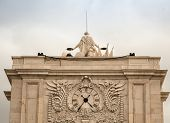 stock photo of arch  - The Rua Augusta Arch is a stone - JPG