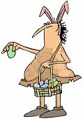 foto of caveman  - This illustration depicts a caveman wearing pink bunny ears and holding a basket full of pastel colored decorated eggs - JPG