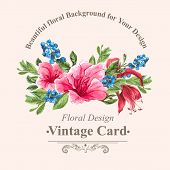 image of jungle flowers  - Invitation Vintage Card with Blueberries - JPG