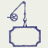 stock photo of crane hook  - Hook of a crane and banner - JPG