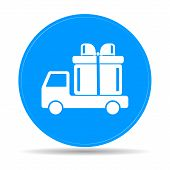 stock photo of truck-cabin  - truck with a gift vector icon EPS - JPG