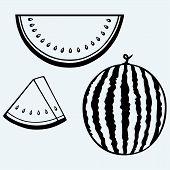 stock photo of watermelon slices  - Sliced ripe watermelon - JPG