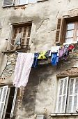 Laundry Hanging Medieval Architecture Bastia Corsica poster