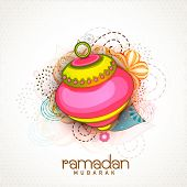image of ramadan mubarak  - Beautiful colourful lantern on floral decorated background for Islamic holy month of prayers - JPG