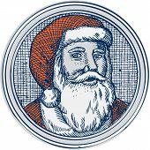 stock photo of nicholas  - Etching engraving handmade style illustration of santa claus saint nicholas father christmas facing front vintage style set inside circle - JPG