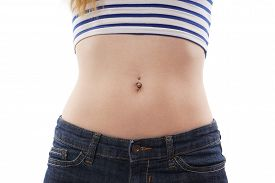 stock photo of pierced belly button  - belly button or navel piercing isolated on white - JPG