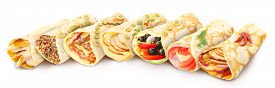 pic of crepes  - Big collection of elegantneat gourmet stuffed crepes decorated with herbs - JPG