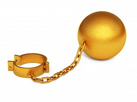 foto of shackles  - Golden shackles isolated on the white background - JPG