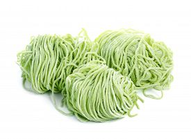 stock photo of noodles  - Jade noodle vegetable noodles green noodles isolated on white background - JPG