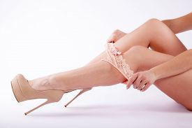 picture of tanga  - legs woman highheel panty sexy young caucasian - JPG