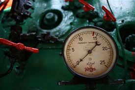 stock photo of manometer  - The vintage manometer in driver cabin of the old soviet locomotive - JPG