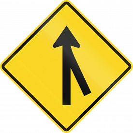 stock photo of merge  - Canadian road warning sign  - JPG