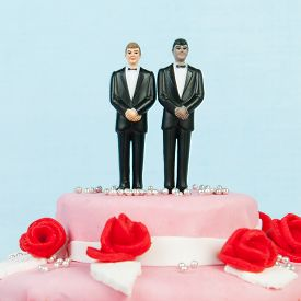 picture of gay wedding  - Pink wedding cake with red roses and gay couple on top - JPG