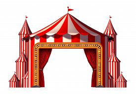 stock photo of circus tent  - Circus blank space stage tent design element as a group of big top carnival tents with a red curtain opening entrance as a fun entertainment icon for a theatrical party festival isolated on a white background - JPG