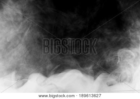poster of Beautiful Storm Cloud Isolated On Black Background. Smoke From Cigarettes. Vape.