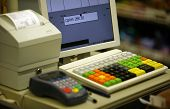 picture of cash register  - Cash register in shop and credit card register