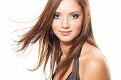 stock photo of beautiful brunette woman  - Young brunette - JPG