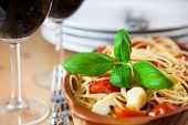 stock photo of italian food  - Spaghetti with cherry tomatoes - JPG