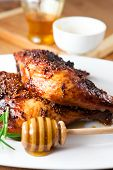 picture of roast chicken  - Roast chicken  with honey and french mustard - JPG