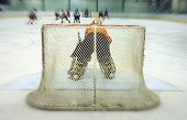 View on the back of the ice-hockey goalkeeper