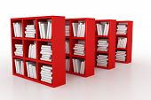 stock photo of book-shelf  - Shelvings in a library with books - JPG