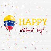 Постер, плакат: Venezuela National Day Patriotic Poster Flying Rubber Balloon In Colors Of The Venezuelan Flag Ven
