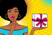 Wow Pop Art Face. Young Sexy Surprised African American Woman With Open Mouth Holding Bright Gift Bo poster