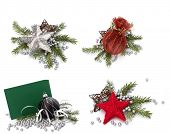picture of christmas cards  - Christmas decoration with greeting card isolated on white background - JPG