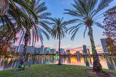 Orlando, Florida, USA downtown skyline at Eola Lake. poster