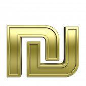 stock photo of shekel  - Sheqel sign from shiny gold with gold frame alphabet set - JPG